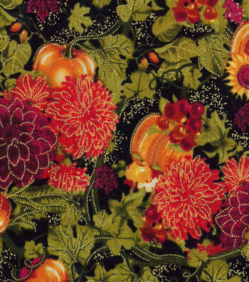 "Harvest Cotton Fabric 43""-Pumpkin Mum Burst Metallic"