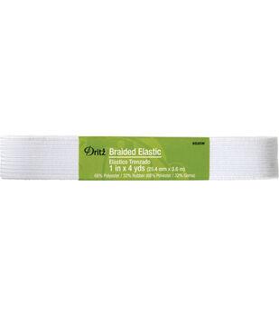"Dritz 1"" x 4 Yds Braided Elastic White"
