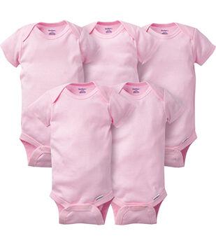 Gerber 5 pk Short Sleeve Onesies Bodysuits-Pink