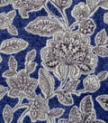 Luxe Fleece Fabric -Gray Floral on Navy Heather