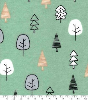 Nursery Flannel Fabric-Forest Green Trees