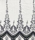 Coastal Lagoon Embroidered Woven Cotton Fabric-Navy White Stripe