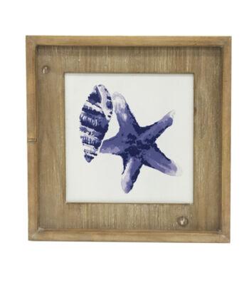 Indigo Mist Shell Print on Wood Wall Décor