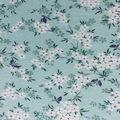 Rayon & Spandex Printed Knit Fabric-White Mini Floral on Aqua
