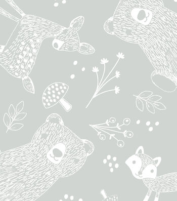 Nursery Flannel Fabric -Forest Outline