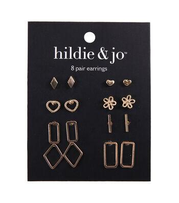 hildie & jo Minimalist 8 Pair Cave Earrings-Gold