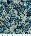 Asian Inspired Cotton Fabric 43\u0022-Rolling Waves Blue Metallic