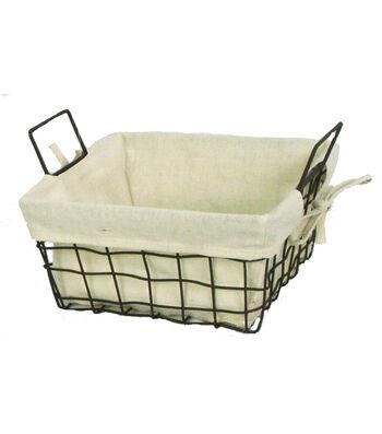 Organizing Essentials 10x10 Wire Basket with Ivory Liner
