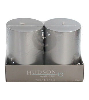 Hudson 43 Candle & Light Collection 2  Pack 3X4 Silver Pillar