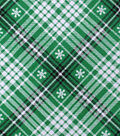 Snuggle Flannel Fabric 42\u0022-Black & Green Snowflake