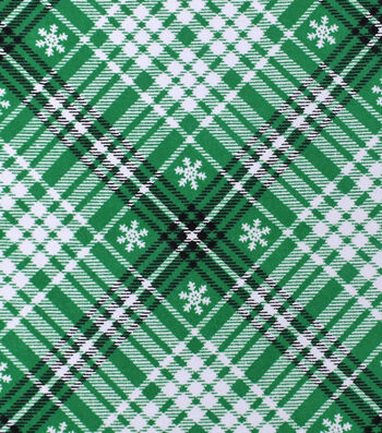 "Snuggle Flannel Fabric 42""-Black & Green Snowflake"