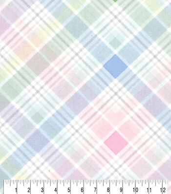 Easter Cotton Fabric-Pastel Spring Plaid Bias