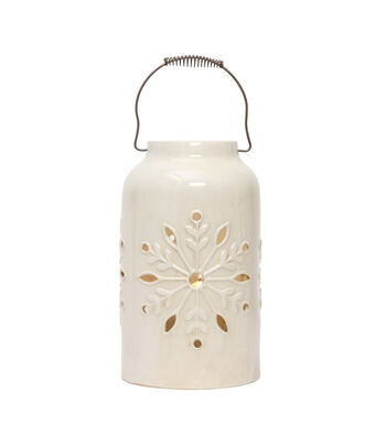 3R Studios Christmas Stoneware Container with Snowflake Cut-out Design