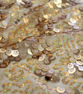 Performance Stretch Lace Apparel Fabric-Gold Fame Triple Sequin