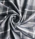 Perfectly Plaid Rayon Fabric 54\u0022-Grey White