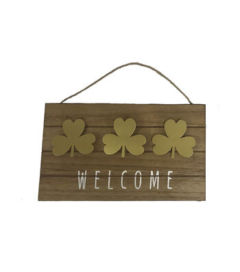 St. Patrick's Day Gold Metal Shamrock Wall Decor-Welcome