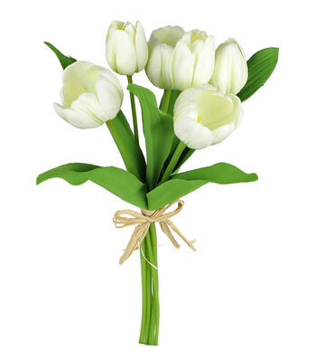 Fresh Picked Spring 15'' Tulip Stem Bundle-White