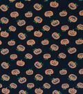 Halloween Cotton Interlock Fabric 57\u0022-Glitter Pumpkins
