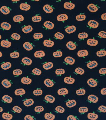 "Halloween Cotton Interlock Fabric 57""-Glitter Pumpkins"