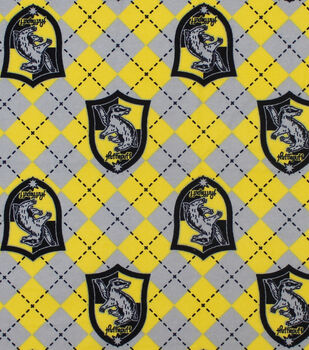 Harry Potter Flannel Fabric-Hufflepuff Argyle