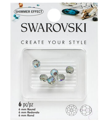 Swarovski 6mm Round Beads 6/Pkg-Black Diamond