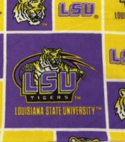 Louisiana State University Tigers Fleece Fabric 58''-Block, , hi-res