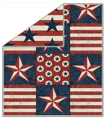 "72"" No Sew Fleece Throw- Anthem Glory Patriot"
