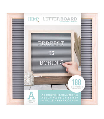 DCWV Home 12''x12'' Gray Oak Letter Board with 1'' White Letters