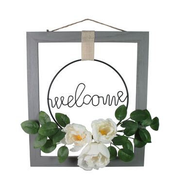 Simply Spring Welcome with Floral Wall Decor-Gray
