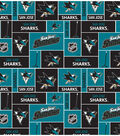 San Jose Sharks Cotton Fabric -Block