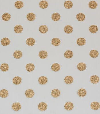 """Tulle Fabric 56""""-Classic Gold Glitter Dots On Eggnog"""