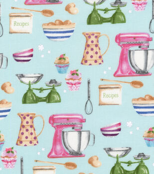Novelty Cotton Fabric-Time to Bake