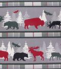 Blizzard Fleece Fabric-Cream Stripe Wilderness