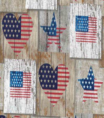 "Patriotic Cotton Fabric 43""-Heart & Star Woodblocks"