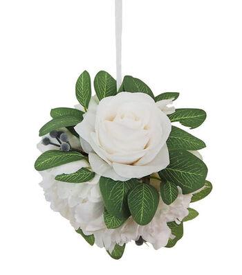 Blooming Autumn Small Peony & Dahlia Kissing Ball-White