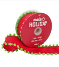 Maker\u0027s Holiday Christmas Ribbon 1.5\u0027\u0027x20\u0027-Red with Green Pom Pom Edge