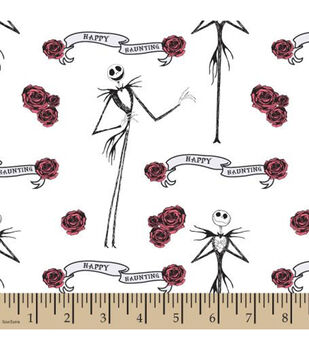 Nightmare Before Christmas Cotton Fabric-Jack And Roses