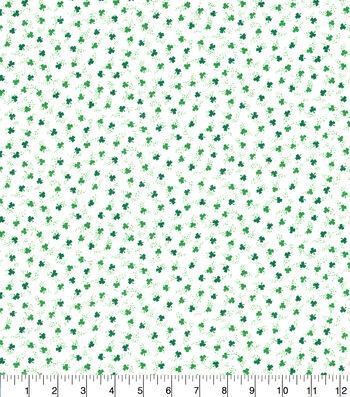 St. Patrick's Day Cotton Fabric-Ditsy Shamrocks White