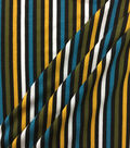 Knit Prints Rayon Spandex Fabric-Yellow Multi Color Stripe