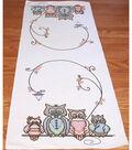 Fairway Needlecraft 15\u0027\u0027x42\u0027\u0027 Stamped Perle Edge Table Runner-Owl Family