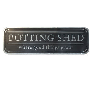 In the Garden 36''x11'' Metal Wall Decor-Potting Shed on Black