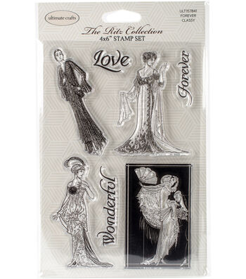 """Ultimate Crafts The Ritz Stamp Set 4""""X6""""-Forever Classy"""