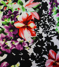 DTY Knit Fabric-Abstract Floral Black/White Multi