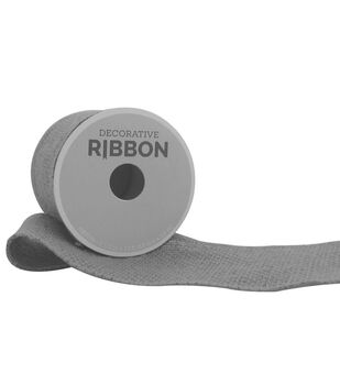 "Decorative Ribbon 2.5"" Solid Burlap Ribbon-Gray"