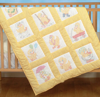 "Stamped White Nursery Quilt Blocks 9""X9"" 12/Pkg-Baby Ducks"
