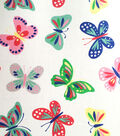 Doodles Collection Interlock Fabric-Butterfly White