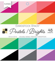 DCWV Pack of 48 6''x6'' Double-Sided Cardstock Stack-Pastels & Brights, , hi-res