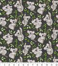 Novelty Cotton Fabric-Happy Koalas Gray