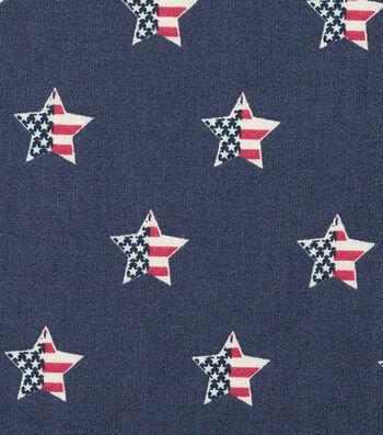 """Patriotic Cotton Fabric 44""""-Flag In Star"""