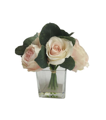 Fresh Picked Spring 7.5'' Rose Arrangement in Glass-Light Pink
